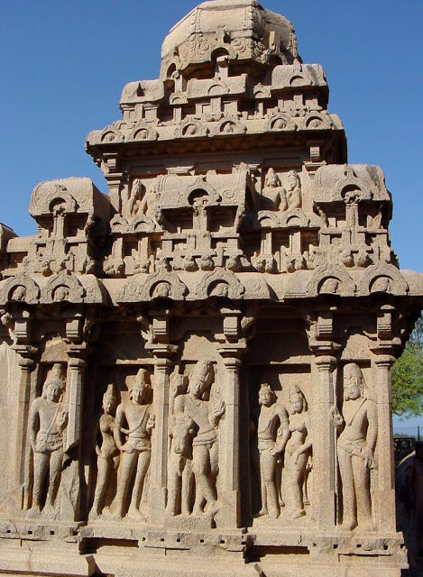 Mahabalipuram Monolithic Stone Chariots - Side Wall of the Arjuna Chariot