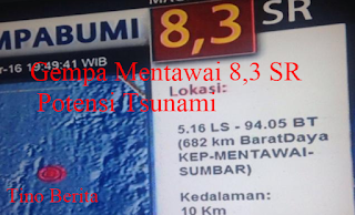 Gempa Mentawai 8,3 SR Potensi Tsunami