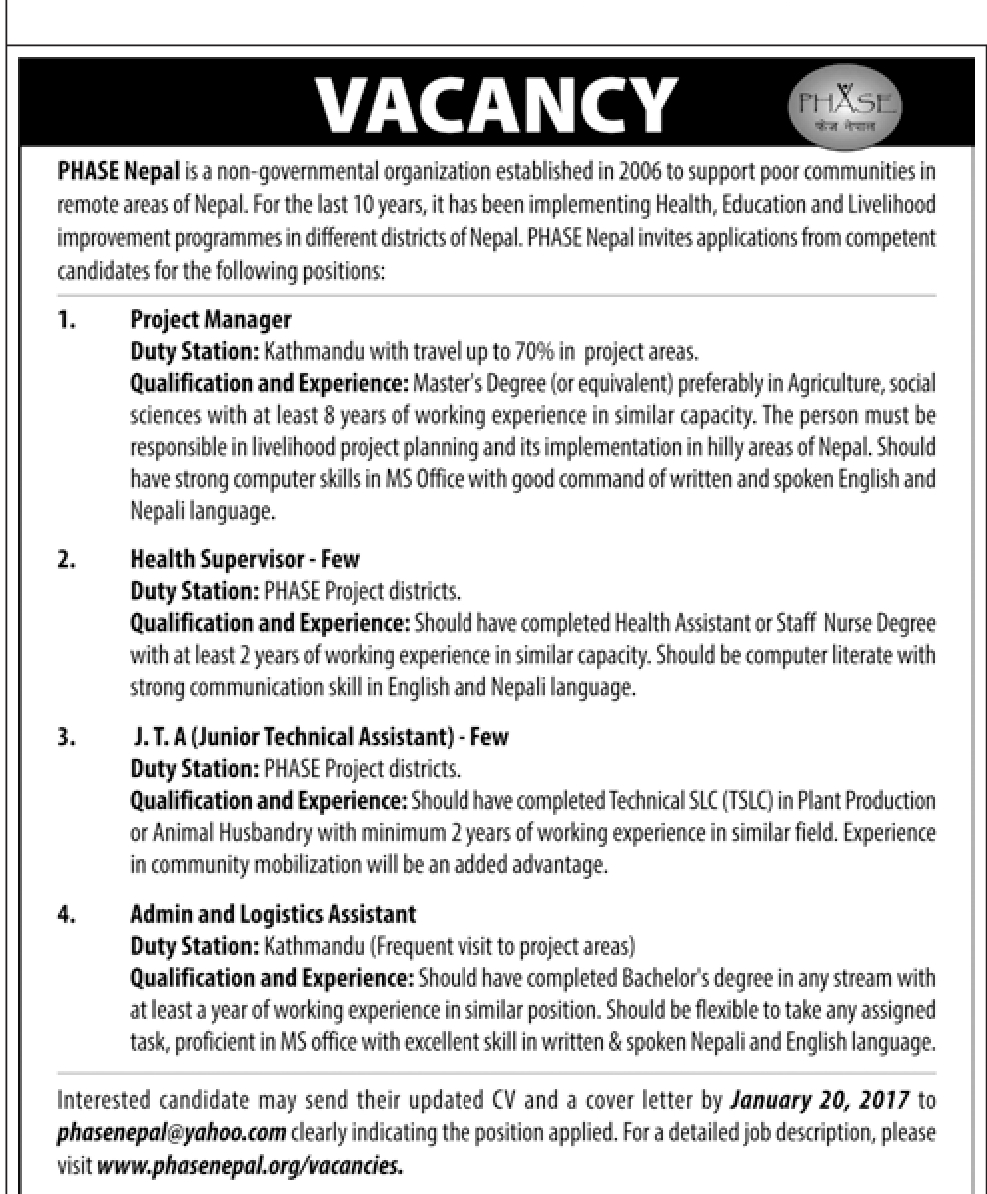 Vacancy and Jobs ast PHASE nepal for Health Supervisor