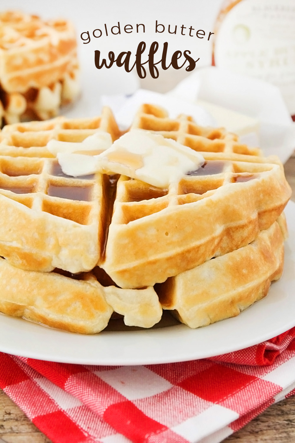 These amazing homemade golden butter waffles are crisp on the outside, fluffy on the inside, and so delicious!
