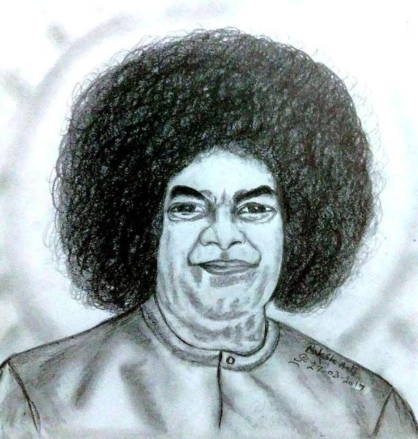 PENCIL DRAWING  - Sathya Sai Baba