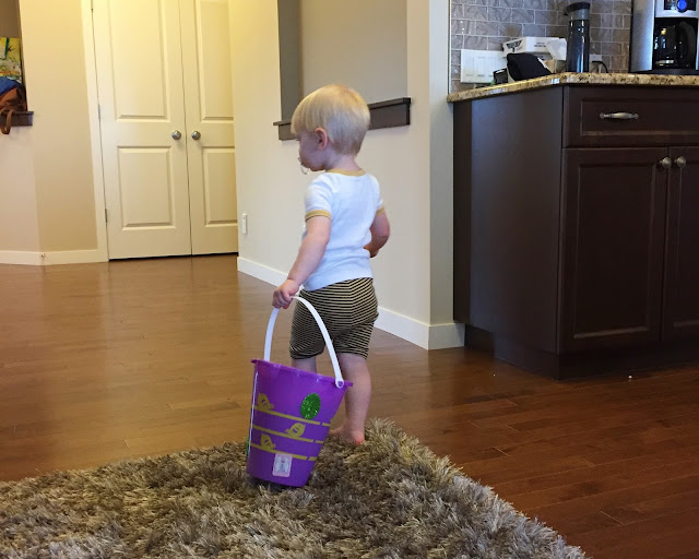 Easter Egg hunt with a toddler