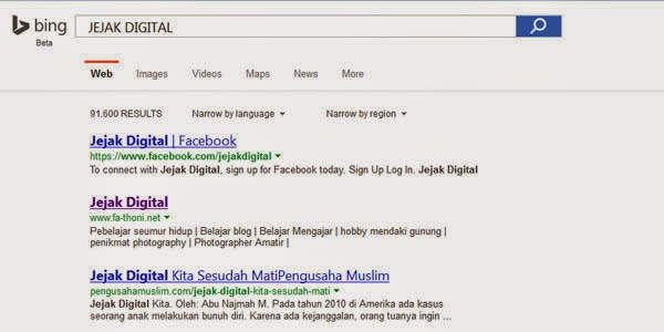 jejak digital bing search