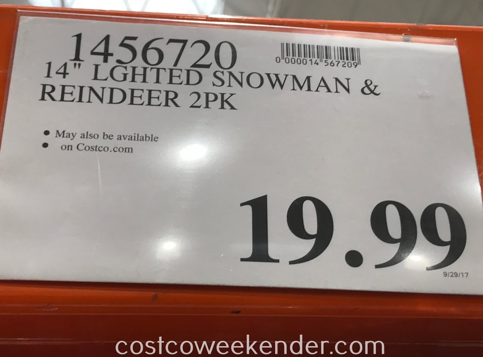 Costco 1456720 - Pack includes lighted Reindeer and Snowman