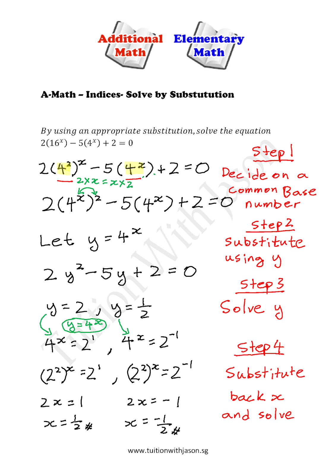 A-Math-Indices-Solve by Substitution   Singapore Additional
