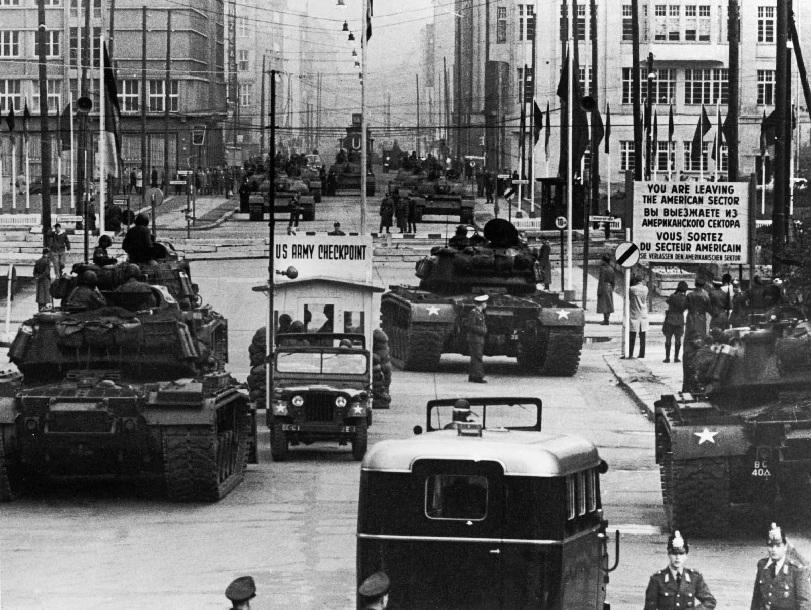 U.S. tanks facing Soviet Union tanks at Checkpoint Charlie in Berlin, 1961
