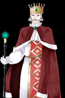 困っている赤い服を着た王の立ち絵フリー素材