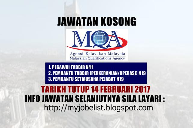 Jawatan Kosong Agensi Kelayakan Malaysia (MQA) Februari 2017