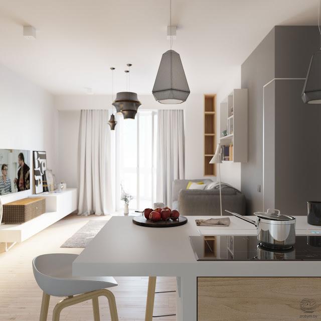 Alb, gri și accente de galben într-un proiect de amenajare pentru un apartament tineresc