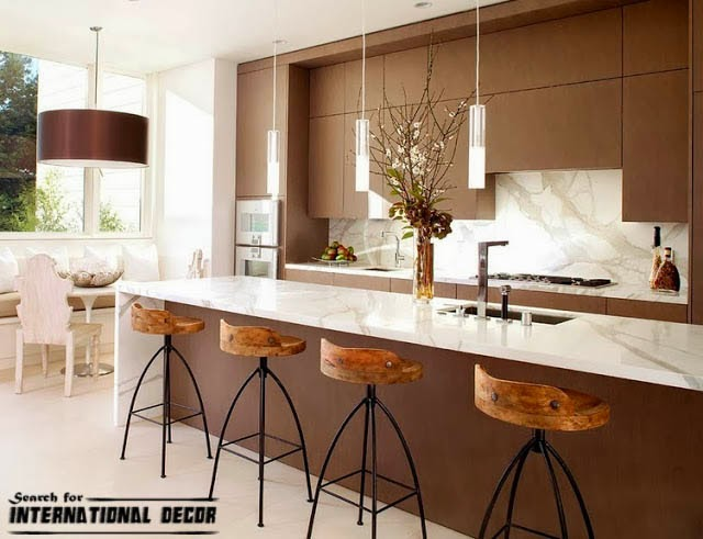 contemporary interior design, contemporary kitchen, brown kitchen cabinets