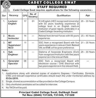 Latest Vacancies Announced in Cadet College Swat 18 September 2018 - Naya Pak Jobs