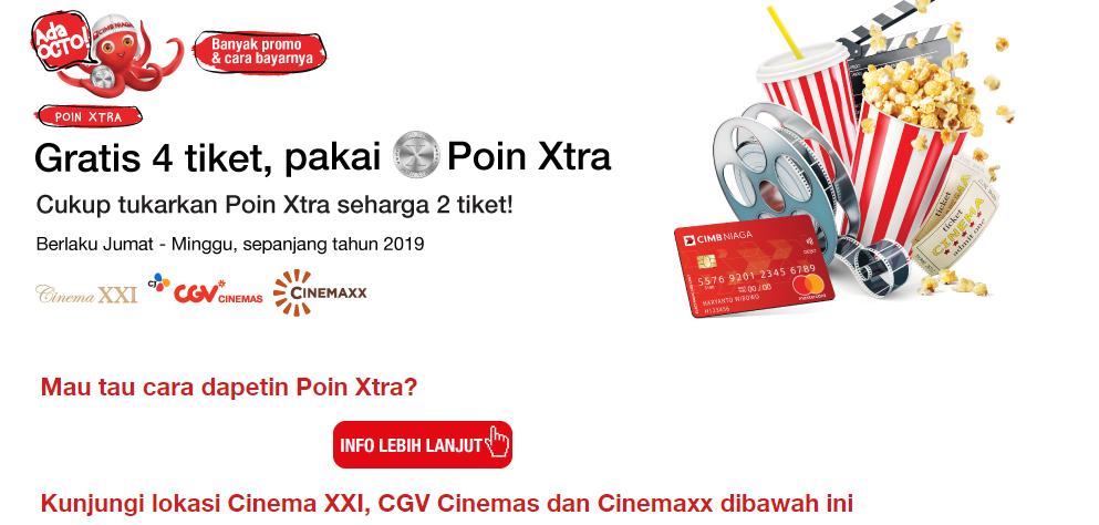 #BankCIMB - Promo Gratis 4 Tiket Pakai Poin Xtra Sepanjang Tahun 2019