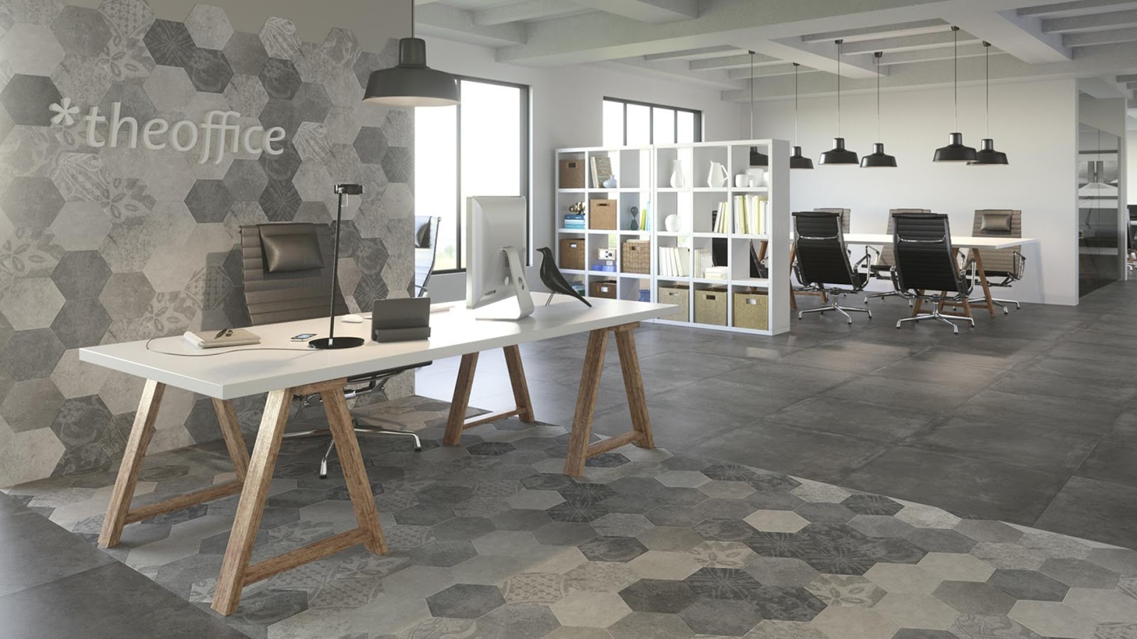 Atlas Hexagon Patchwork Cold In Home Office Tiles Design Ideas