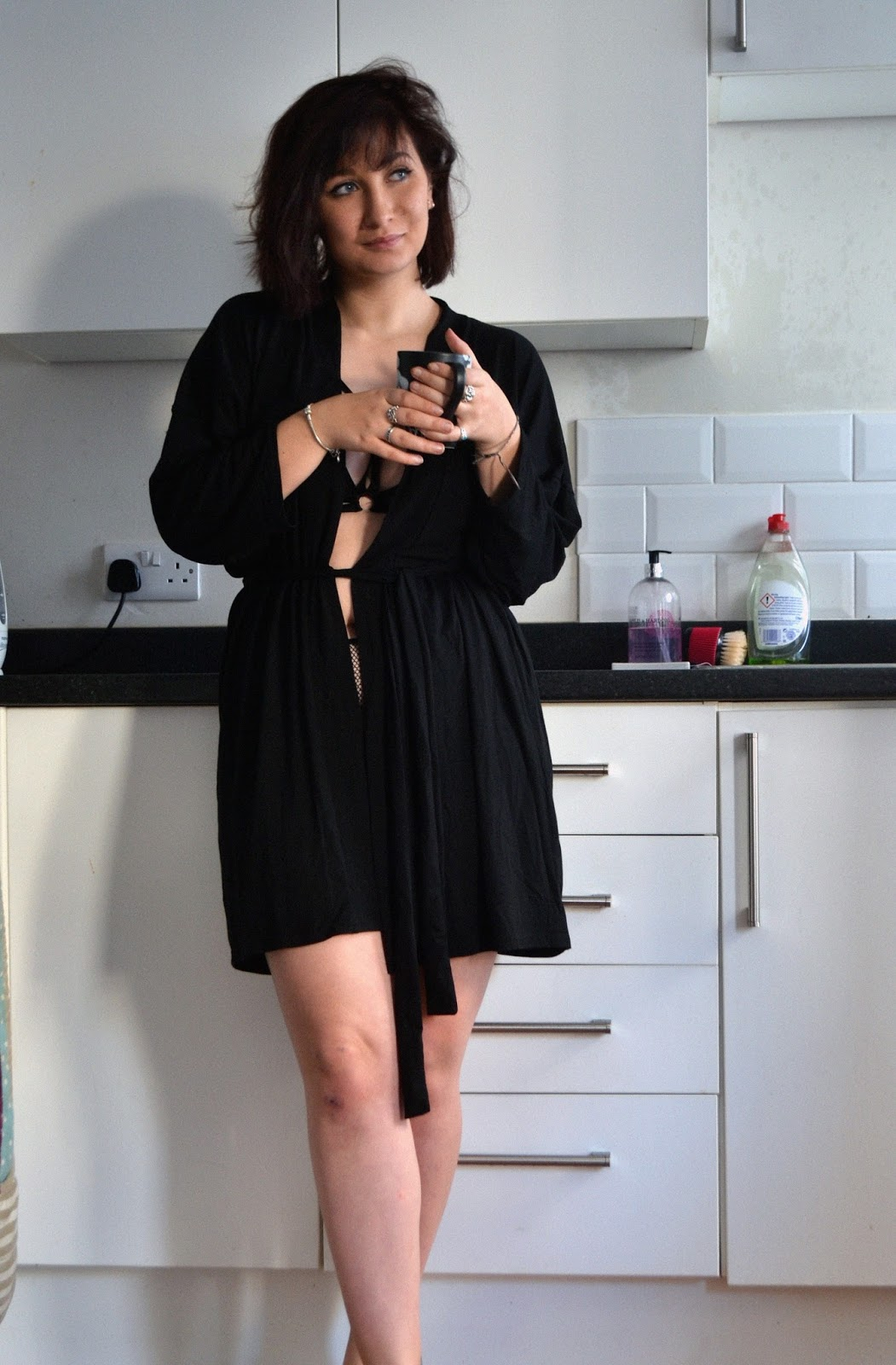 Dana Nicola from fashiondew.co.uk wearing strappy, mesh ann summers lingerie and boohoo sexy evening robe.