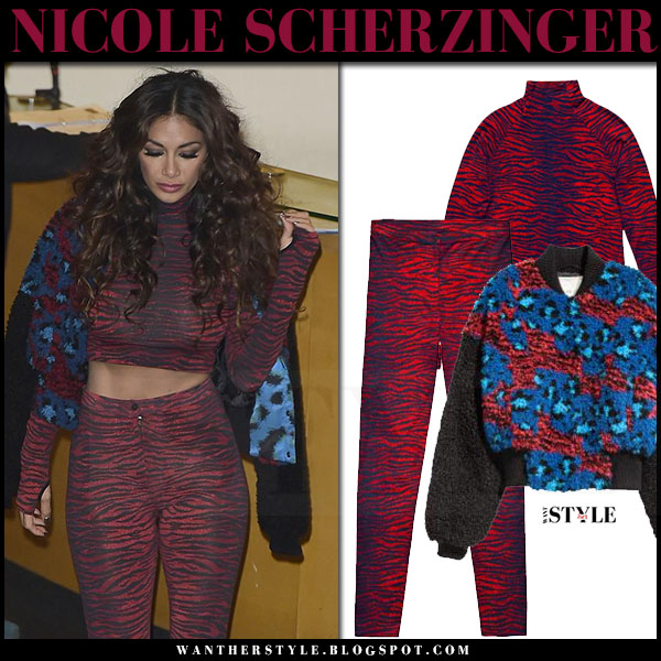 Nicole Scherzinger in red tiger print crop top, red tiger print leggings and blue bomber jacket kenzo x h&m what she wore