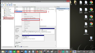 """Pilih """"Disk management"""", kemudian klik kanan USB Flasdisk, pilih format - pilih juga create partition"""