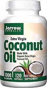 Imaginea cutiei cu capsule gelatinoase cu ulei de cocos, marca Jarrow