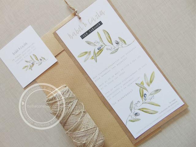 Invitaciones de boda bonitas y sencillas dibujadas en acuarela