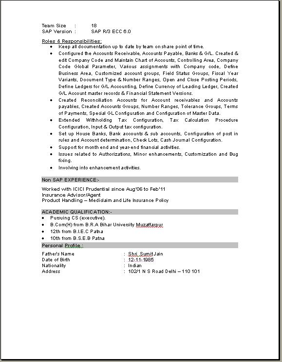 sap hr resume sample