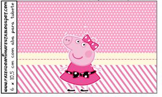 Etiquetas de Miss Peppa Pig para imprimir gratis.