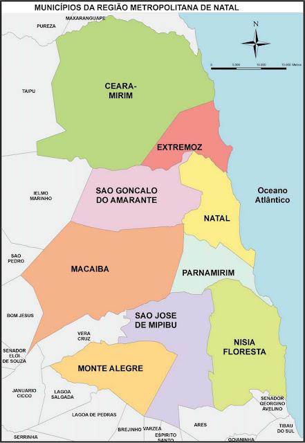 Mapa divisão metropolitana de Natal