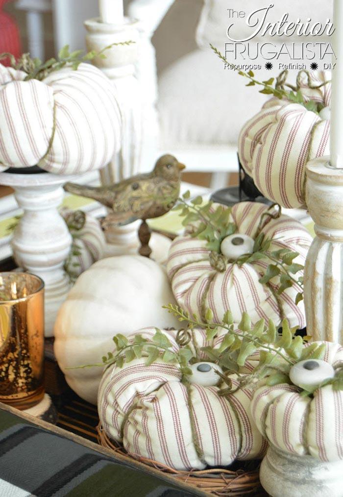 Ticking Fabric Pumpkins