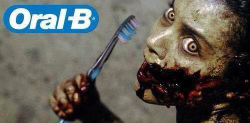 Meme de humor sobre zombis y la higiene dental
