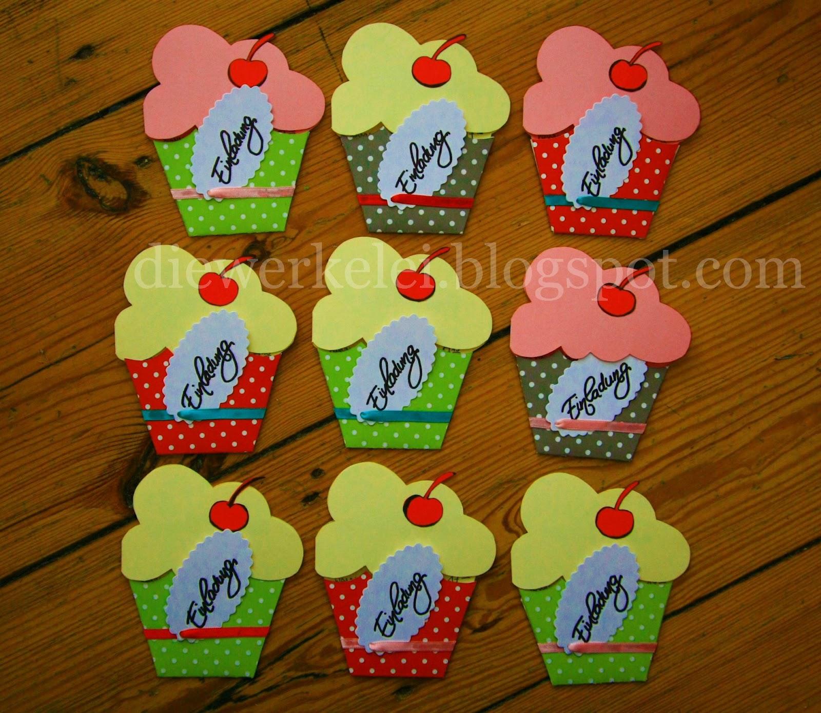 Die Werkelei Frohlich Einladungskarten Cupcake Muffin Einladungen
