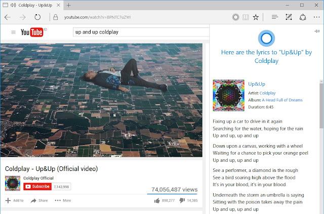 Perintahkan Cortana Menampilkan Lirik Ketika Memutar Lagu di Youtube