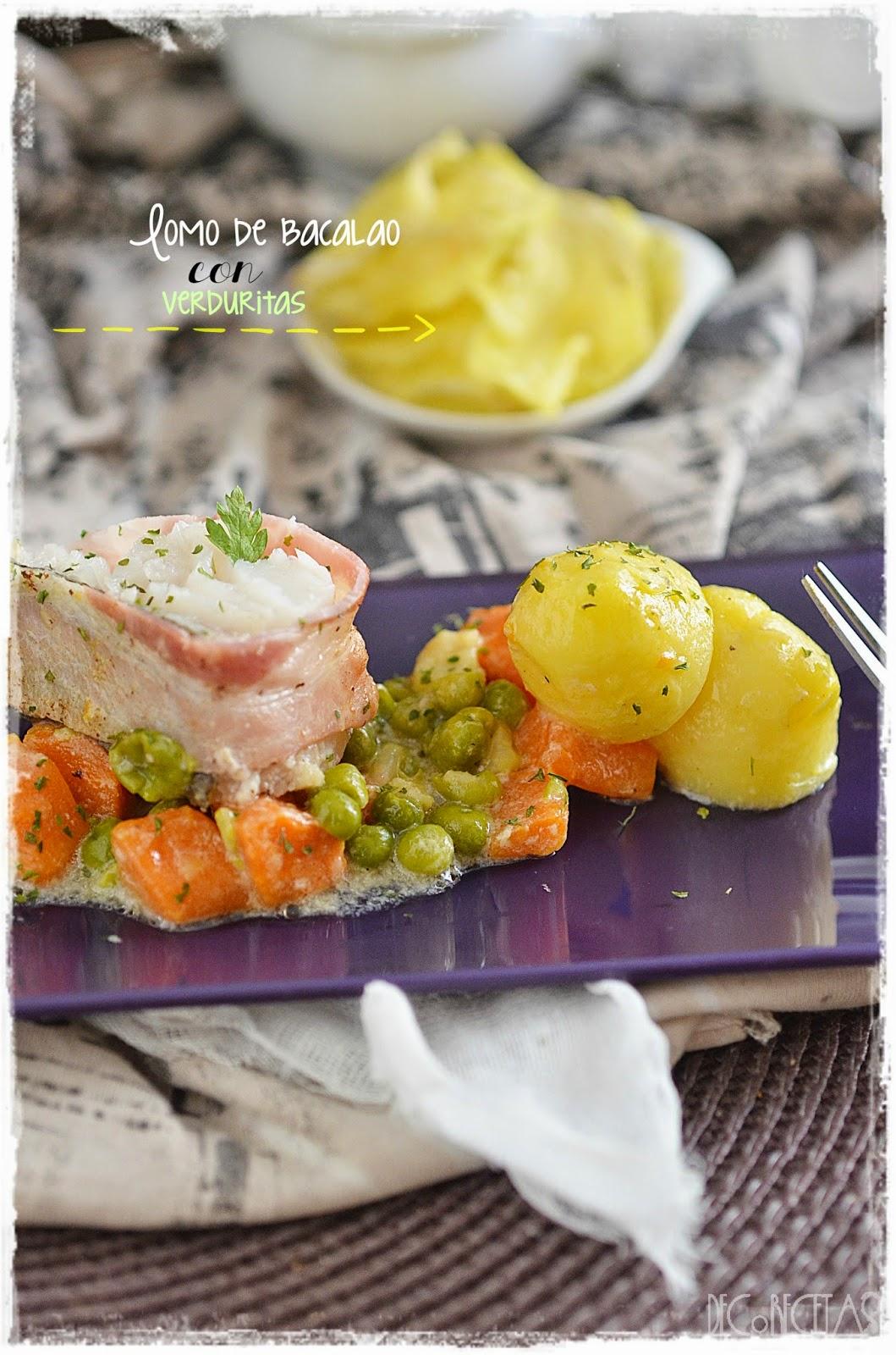 Lomo de bacalao con verduritas