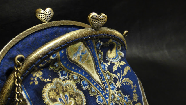"""Женская сумочка """"Синее золото"""" - синяя сумочка на защелке"""