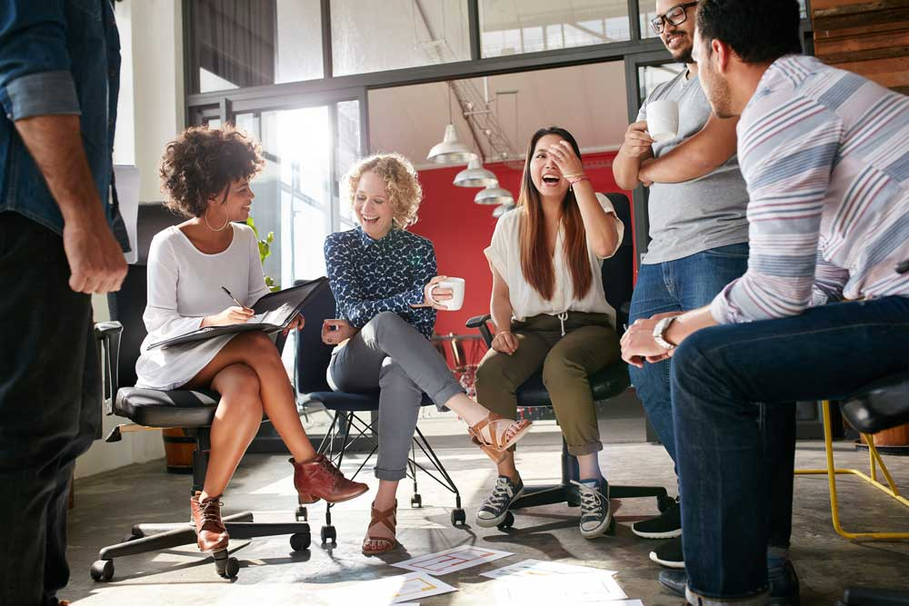 Generic stock photo of people meeting