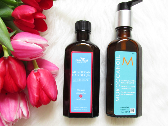 Review: Belle Azul - Moroccan Hair Serum Vergleich Moroccanoil Treatment