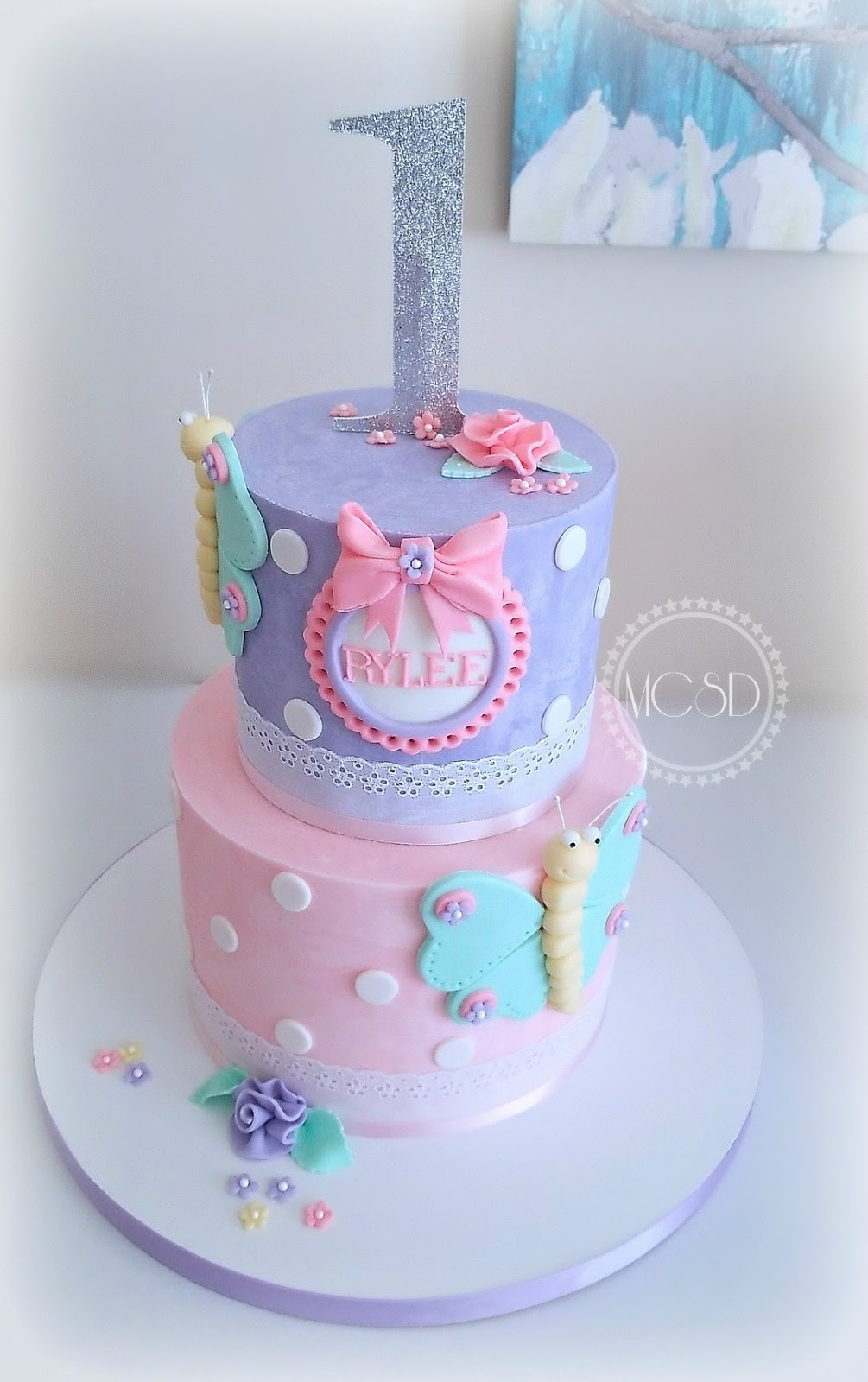 Butterfly 1st Birthday Cake