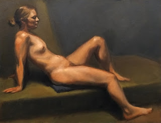 Oil painting of a female figure leaning backwards with one knee raised.