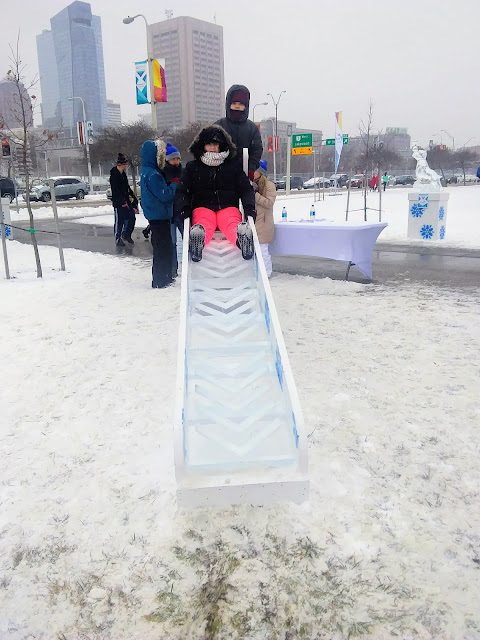 North Coast Harbor Ice Fest - ice slide