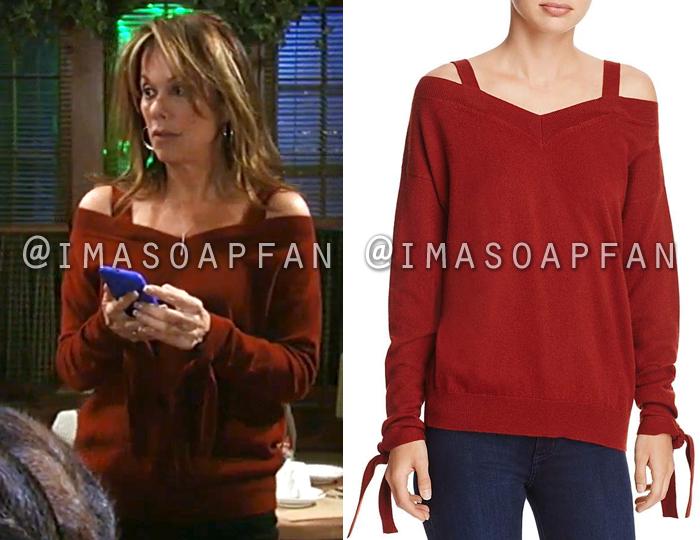 Alexis Davis, Nancy Lee Grahn, Red Cold Shoulder Sweater, General Hospital, GH
