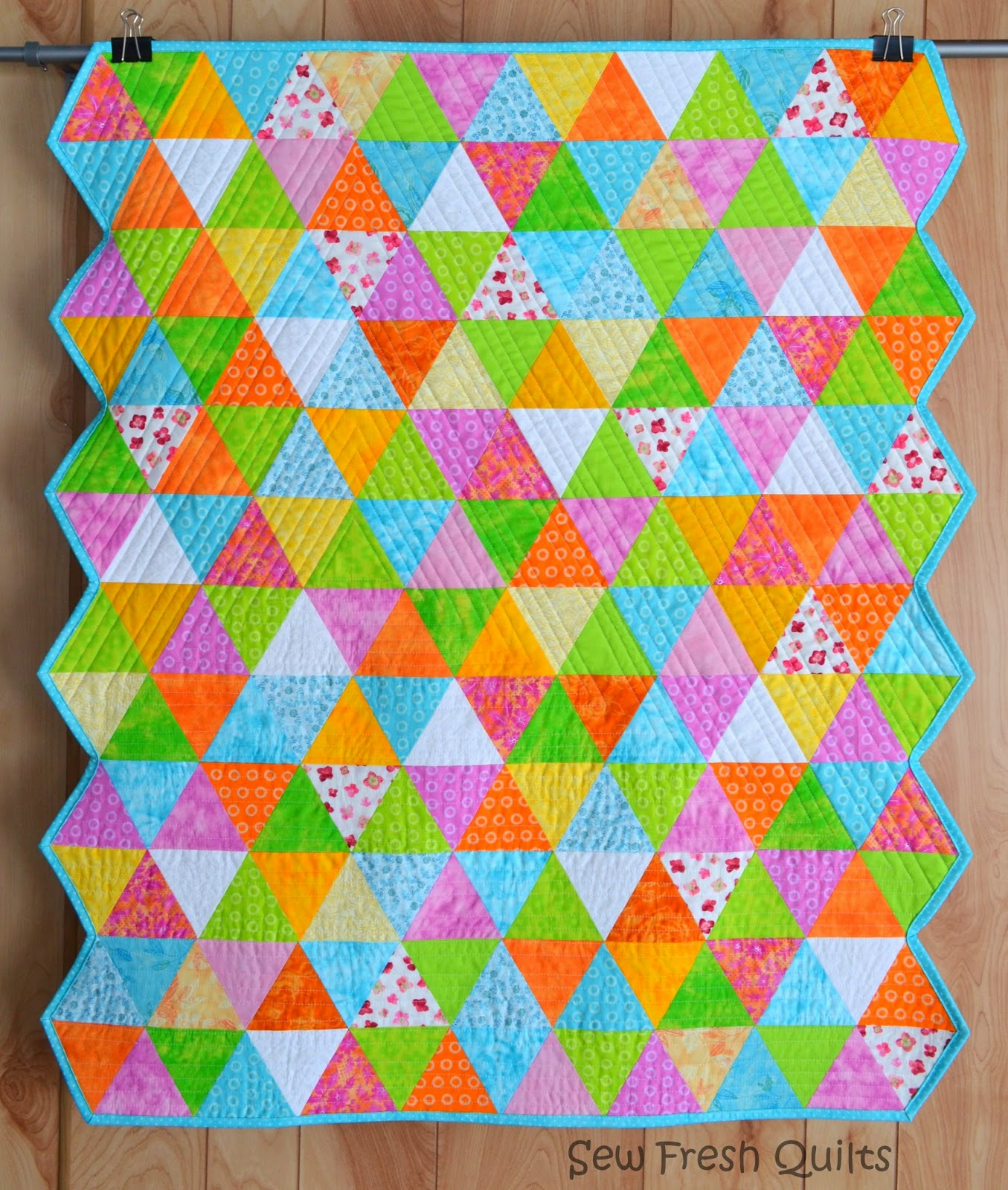 Sew Fresh Quilts Equilateral Triangle Quilt Finished