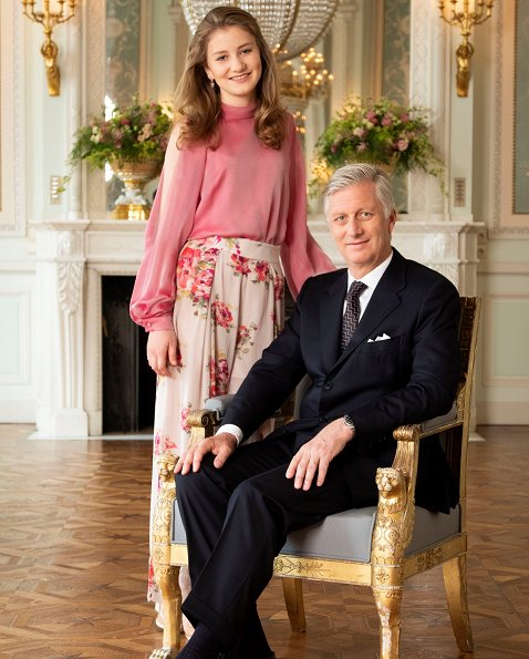 King Philippe, Queen Mathilde, Crown Princess Elisabeth, Prince Gabriel, Princess Eléonore and Prince Emmanuel of Belgium