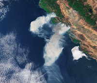 Smoke over California seen by Sentinel-3A satellite