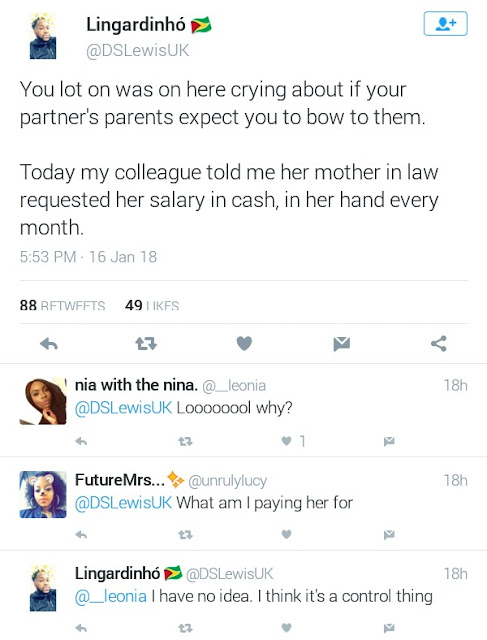 Twitter Stories:  Woman demands for her daughter-in-law