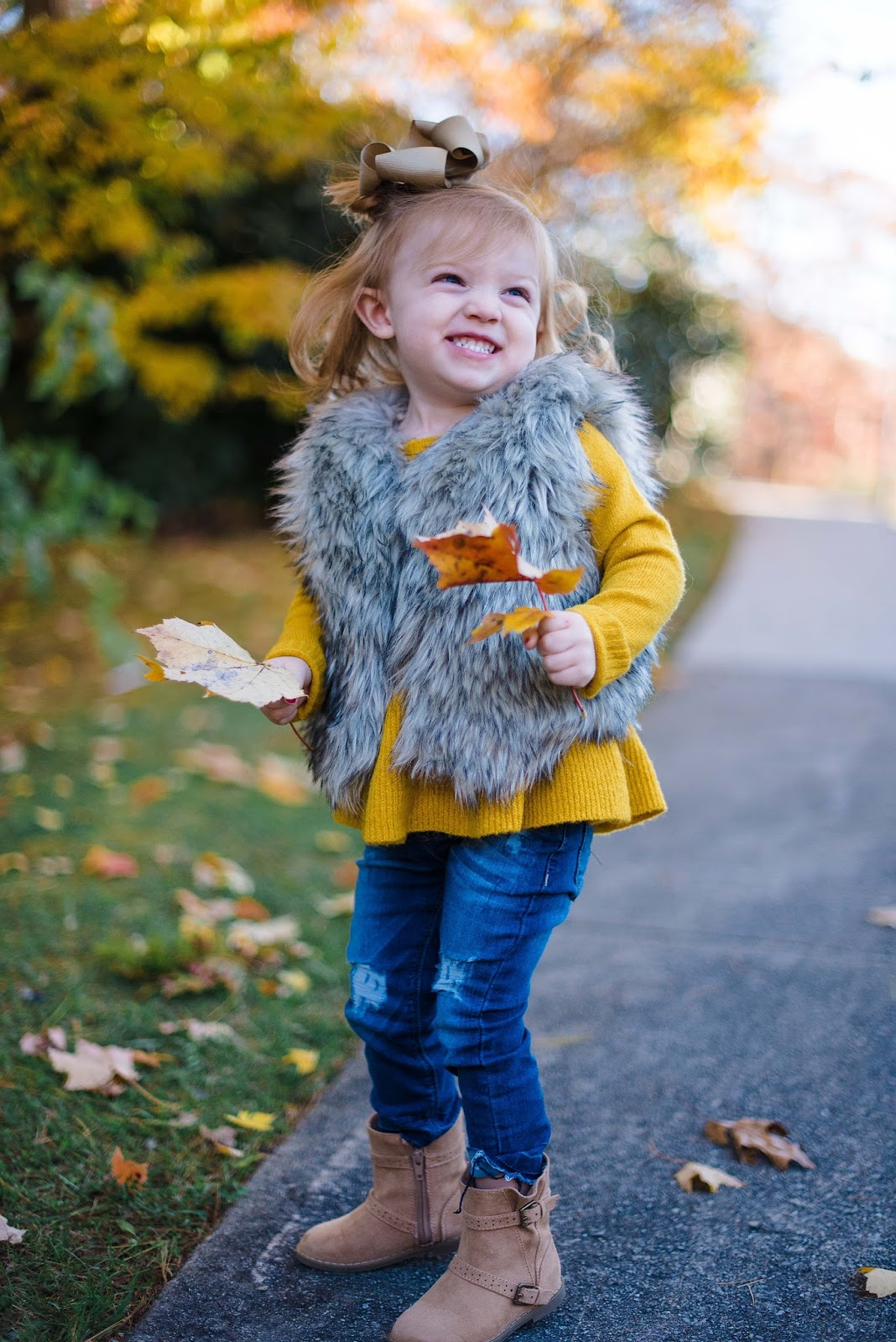 Toddler Fashion: Mustard Yellow & Faux Fur - Something Delightful Blog