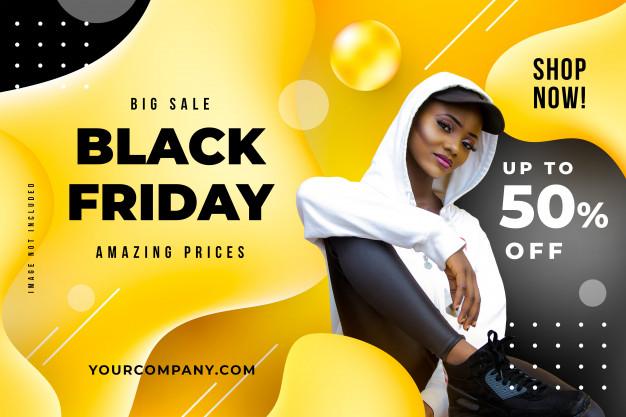 black friday ads Black friday liquid banner template Free Psd