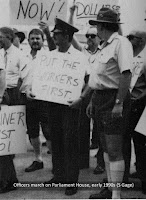 Prison officers protest on Brisbane's George Street in the early 1990s.