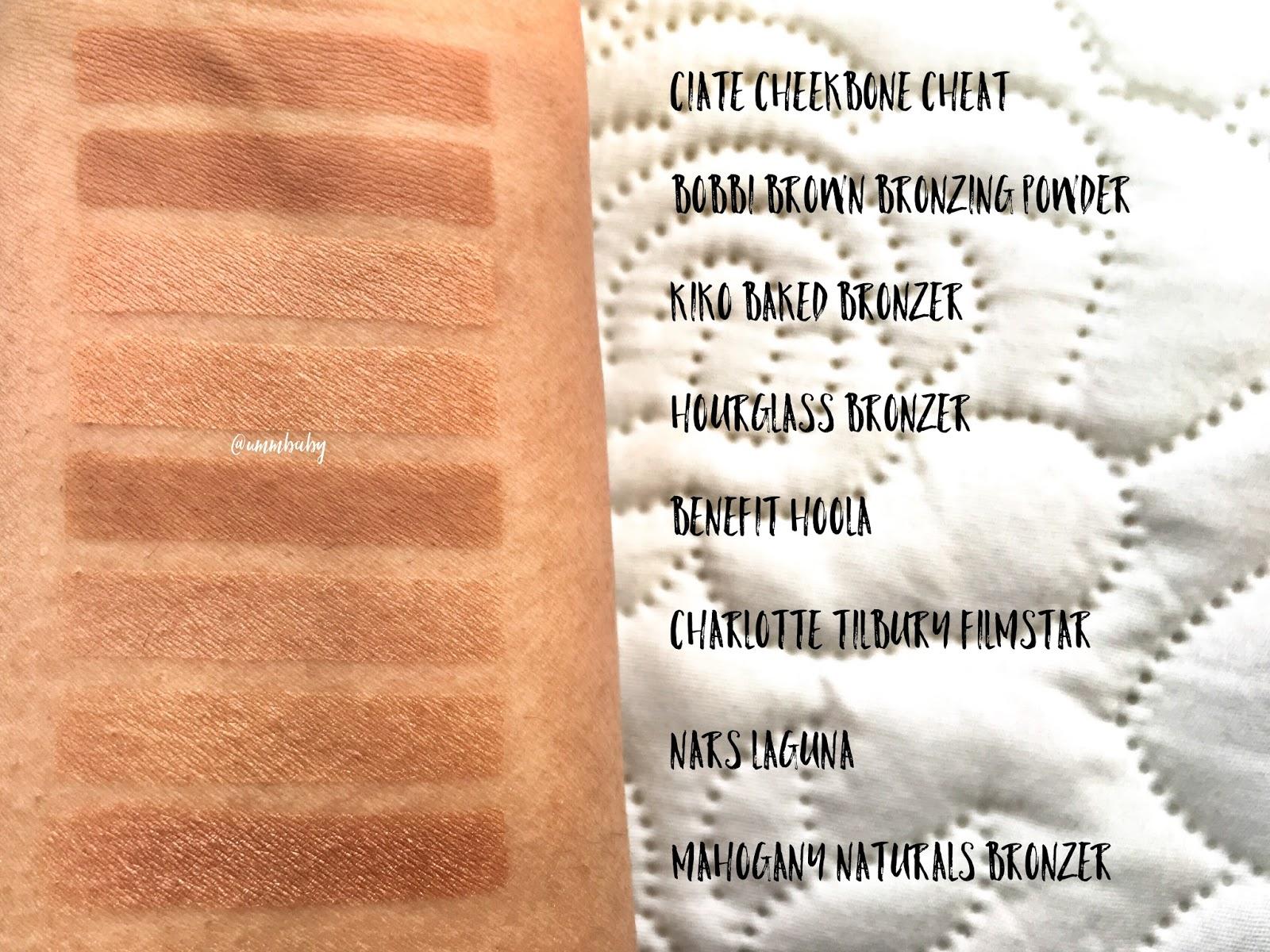 bronzer swatches on medium nc40 skin, benefit hoola swatch, bobbi brown bronzer medium swatch, charlotte tilbury filmstar bronzer swatch on medium asian indian deep skin, hourglass luminous bronze light swatch, nars laguna swatch