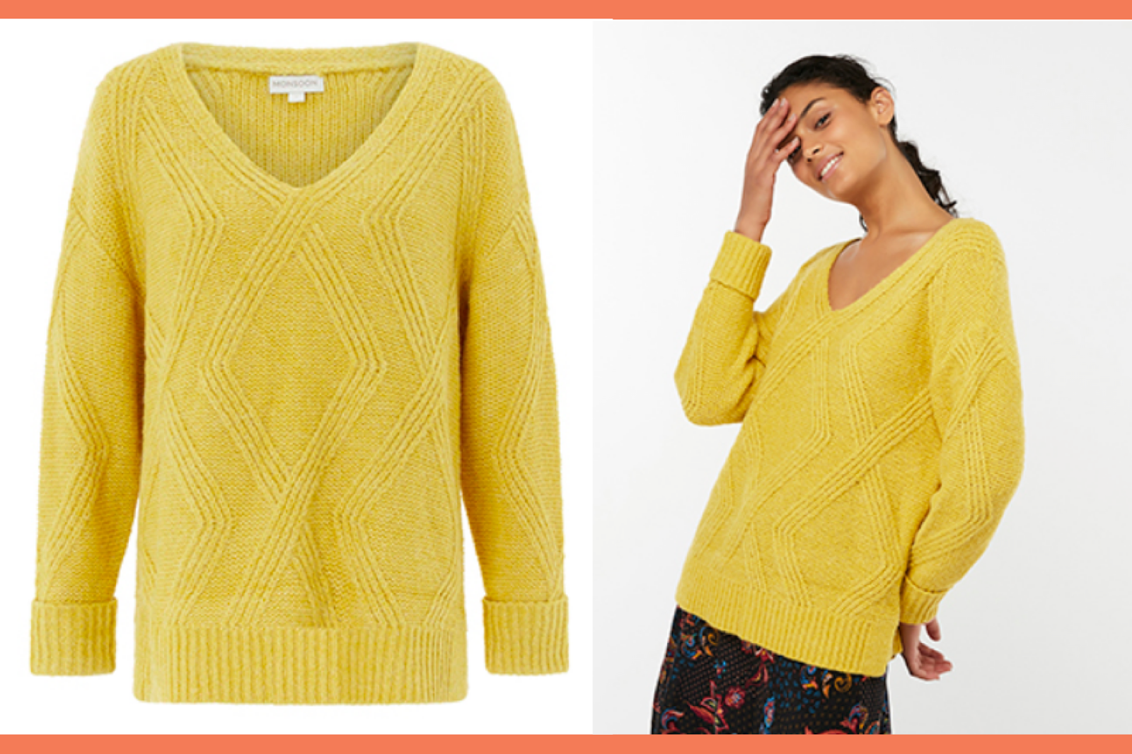 Monsoon Yellow Cece Cable Knit