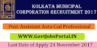 Kolkata Municipal Corporation Recruitment 2017– 19 Auto Cad Professional & Assistant Auto Cad Professional