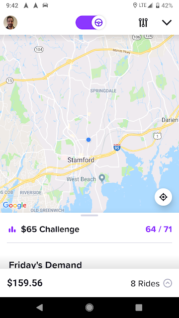 Lyft driver screen morning in Connecticut
