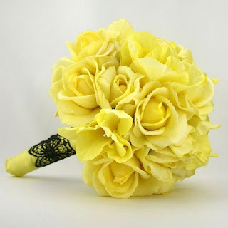 bright yellow silk wedding bouquets