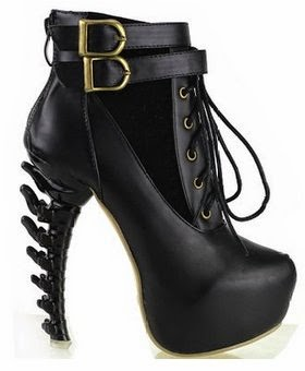 Lace Up Buckle High-top Bone High Heel Platform Ankle Boots